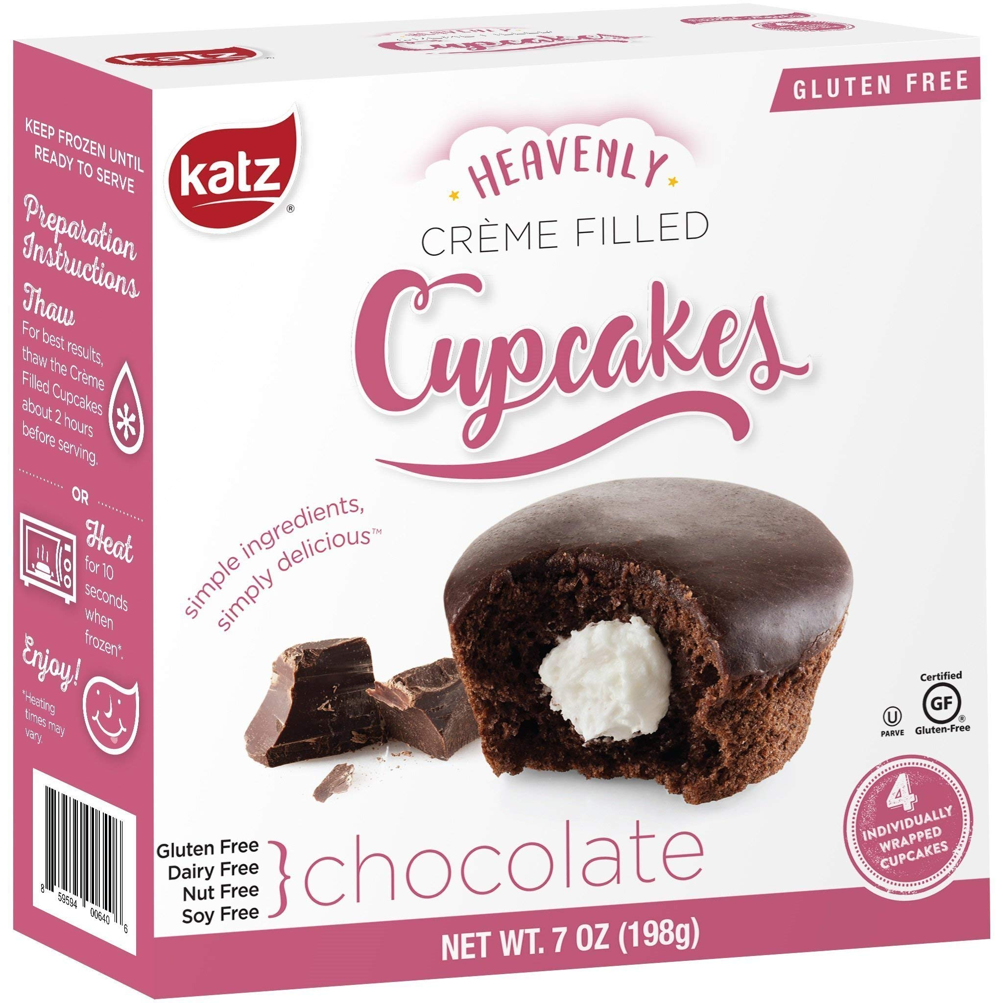 Katz Gluten Free Snacks Chocolate Crème Filled Cupcakes | Dairy Free, Nut Free, Soy Free, Gluten Free | Kosher (3 Packs of 4 Crème Cupcakes, 12 Total) by Katz Gluten Free