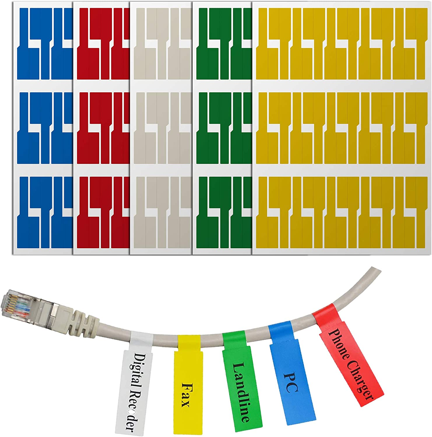 300 Labels Colorful Waterproof Cord Labels,Self Adhesive Cable Labels Printable and Handwriting Cable Organize 300 Pcs Tear Resistant Wire Identification Labels , 10 Assorted Colors 10 Sheets
