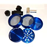 "New Sharp Design 5 Piece 2 1/2"" Smart Crusher Aluminum Coffee Herb Grinder / Cnc Pollen Press Combo"