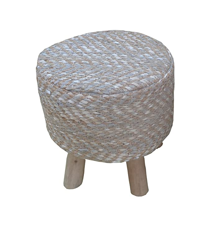 """ACME Annah 16"""" Round Stool in Leather and Jute Upholstery"""