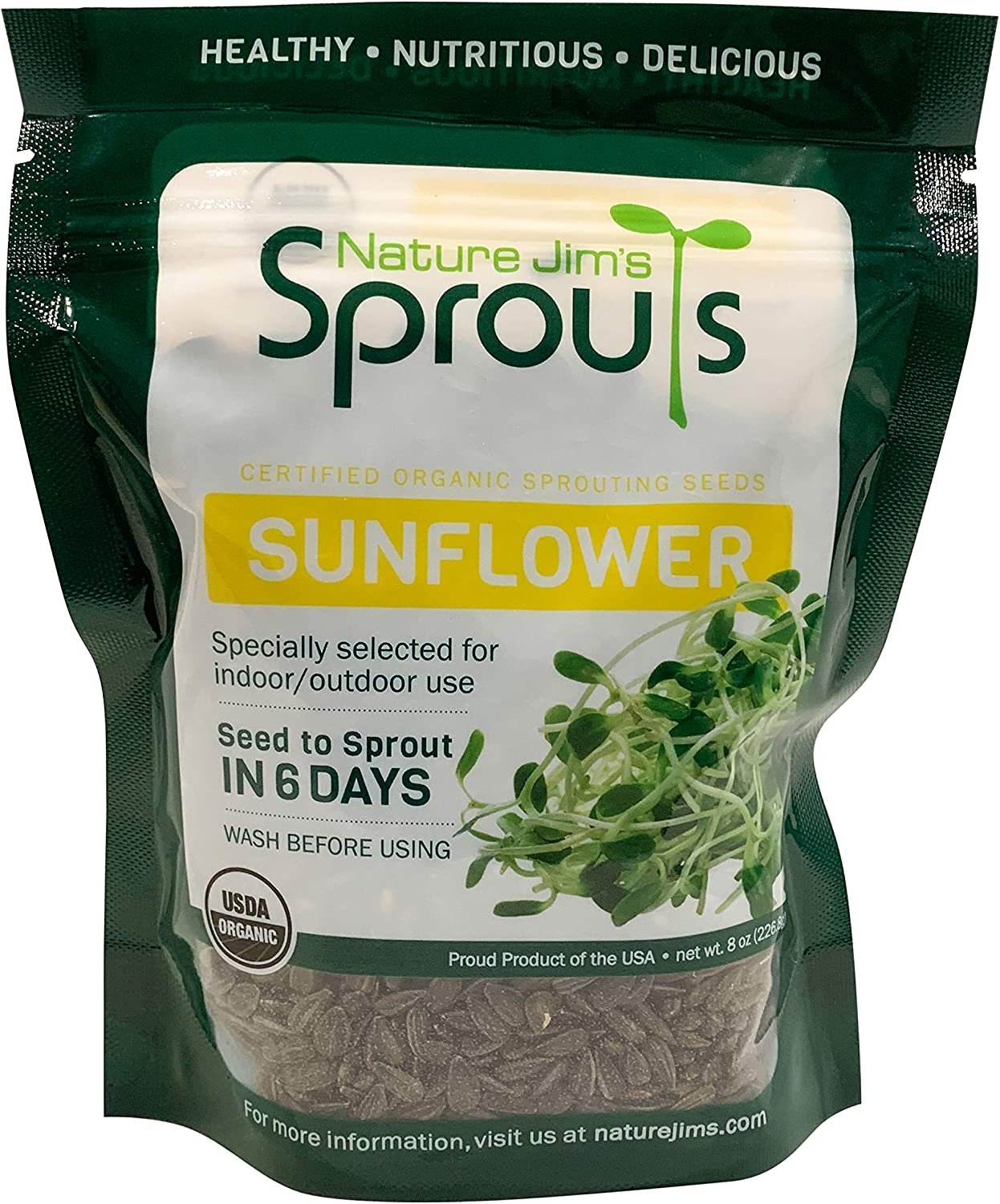 Nature Jims Sprouts Sunflower Seeds - Certified Organic Black Oil Sunflower Sprouts for Soups - Raw Bird Food Seeds - Non-GMO, Chemicals-Free - Easy to Plant, Fast Sprouting Sun Flower Seeds - 8 Oz