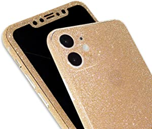 Omio for iPhone 12 Glitter Skin Sticker Ultra Thin Sparkle Bling Diamond Full Body Wrap Covered Edges Precise Fit Dustproof Anti Fingerprint Scratch-Resistant Skin Decal for iPhone 12