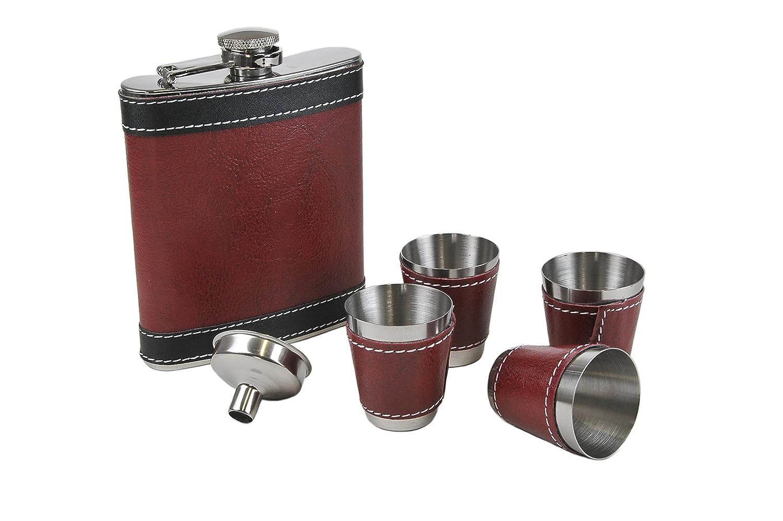 Acier inoxydable Effet cuir enroulée Flasque avec entonnoir & Shot Tasses Ensemble cadeau Flasks FBVER