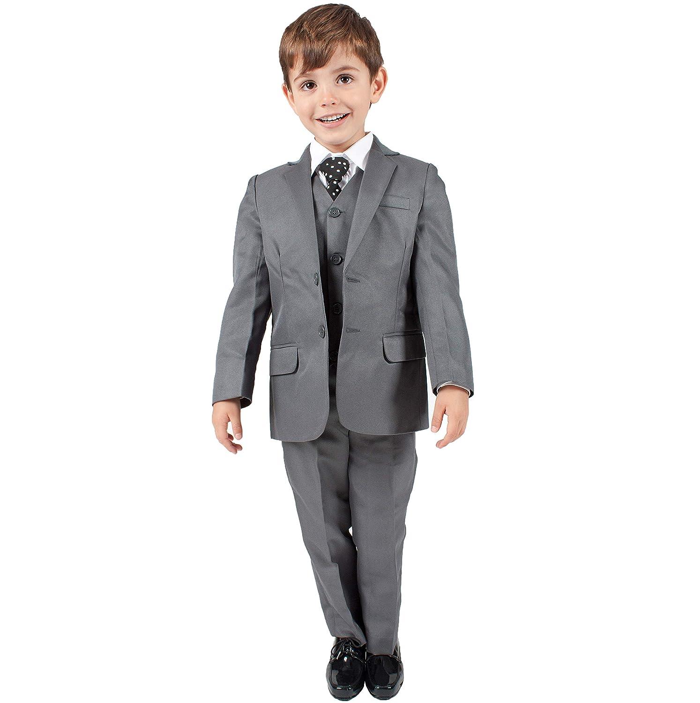Completi Per Bambini - Completo Grigio per Bambino, 5 Pezzi, Abito Formale da Paggetto per Cerimonia Nuziale (0-3 mesi - 14 anni)