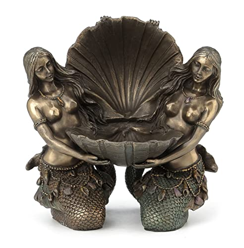 Art Nouveau Mermaids Holding Shell Jewelry Tray Collectible Statue