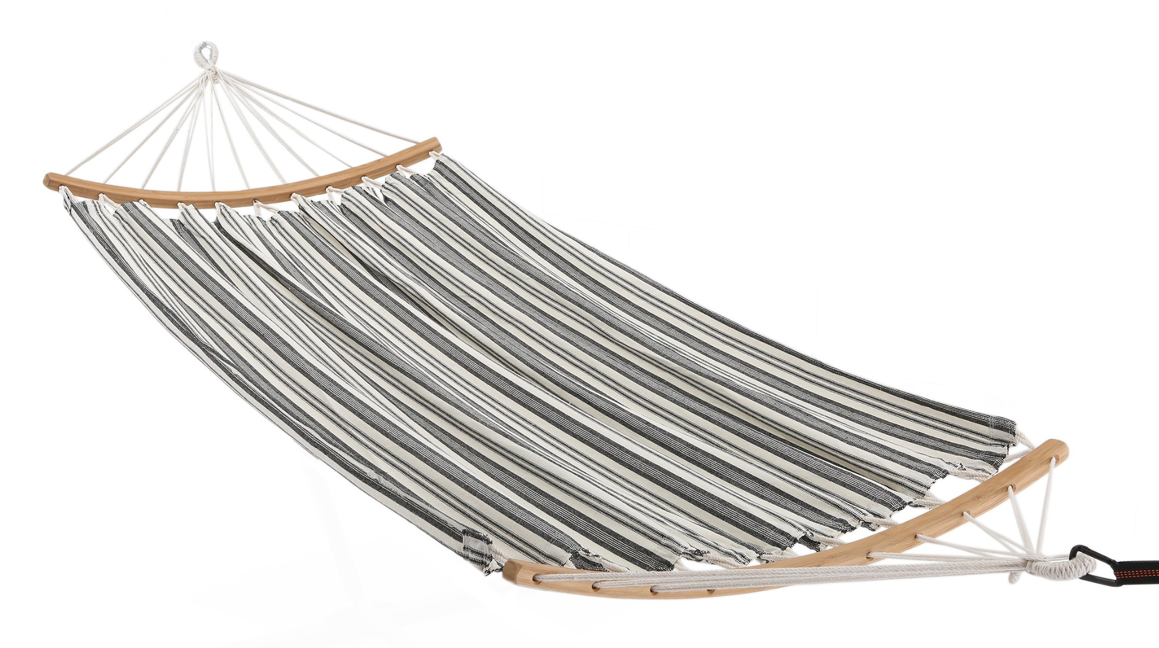 ELC Hammock Cotton Fabric Hammock Double Hammock with Bamboo Spreader Bars, Perfect for Garden Outdoor Patio Yard - Dimensions: ELC HAMMOCK double hammock is large enough to hold 2 persons. The total length (from loop to loop) is 10-feet while the bed resting area is 80 inches Long x 60 inches Wide. And it's designed to safely support a maximum capacity of 330 pounds. Stable & Comfort: This cotton hammocks are tightly woven with comfortable, long-lasting thread that gives the user a euphoric feeling of of laying on a soft sponge. 45 inches durable bamboo spreader bar with powder coated in an oil rubbed finish keeps itself clean, making it more stable and maximizing style. Easy to Use: There is a 45 inches curved bamboo bar at each end with drilled out holes spaced throughout for the support ropes to go through. Each rope is super thick and braided for maximum durability and support. All ropes collect together and weave into a very pretty triangle pattern, which attaches to a ring. Just hang it between two trees with straps or on a hammock stand (NOT INCLUDED). - patio-furniture, patio, hammocks - 81oFbLmK9PL -