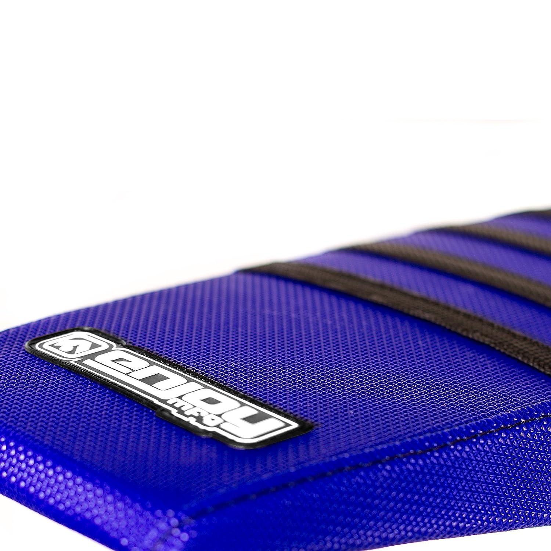 Enjoy MFG Ribbed Seat Cover for Yamaha TTR 230 Black Top Blue Ribs Blue Sides