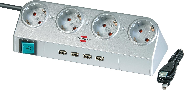 Brennenstuhl Desktop Power Steckdosenleiste 4 Fach Mit 4 X Usb Für Den Schreibtisch Tischsteckdose Mit Schalter Und 1 8m Kabel Silber Baumarkt