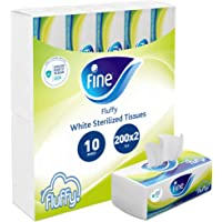 Fine, Facial Tissues, Fluffy, 200x2 Ply White Tissues, pack of 10 boxes, 2000 tissues