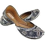 Fulkari Women's Viola Women's Soft Leather Bite and Pinch Free Jutis |Punjabi Jutti Flat Ladies Mojari |Formal Ethnic Shoe