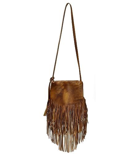 1c3f919b28c1 ZLYC Women Bohemian Dip Dye Leather Fringe Bag Pouch Tribal Tassel Cross  Body Bag Purse
