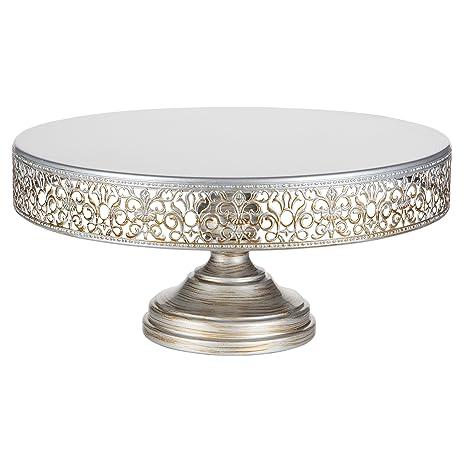 Victoria Collection Antique Silver 14 Inch Cake Stand, Round Metal Wedding  Birthday Dessert Cupcake Pedestal