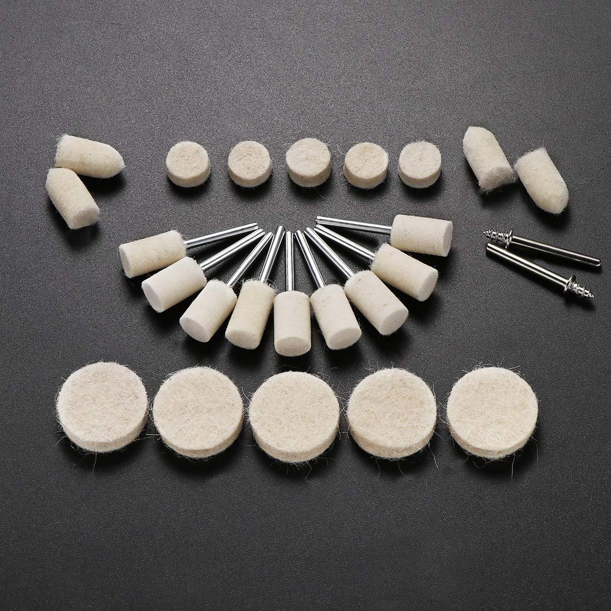UKCOCO Kit del pulidor de la rueda del almacenador intermediario de las lanas 76pcs que pule con la goma para el funcionamiento del metal de madera