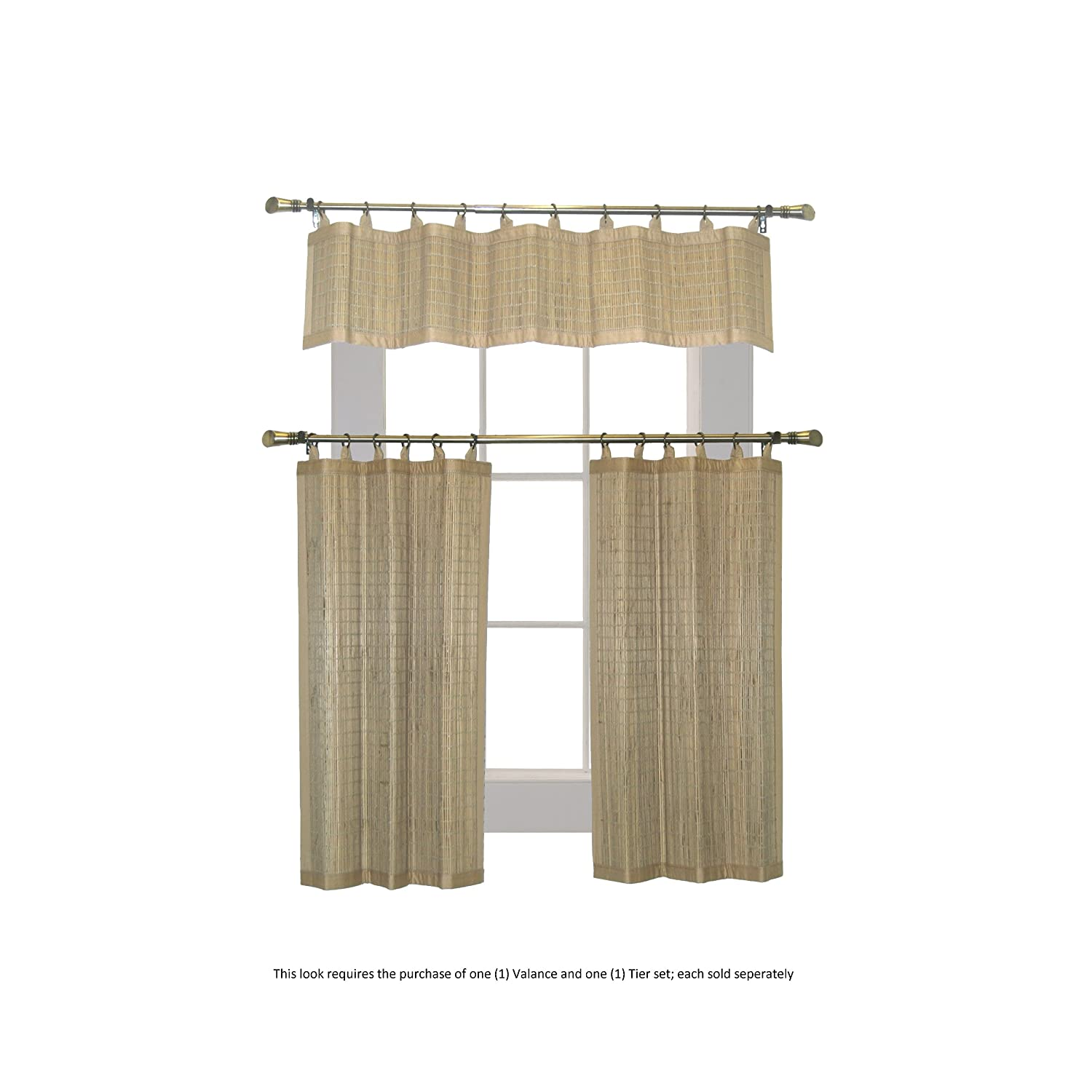 Driftwood Versailles Home Fashions BRP054836-25 Bamboo Ring Top Curtain BRP05 2-Piece Ring Top Tier Set 48 by 36-Inch