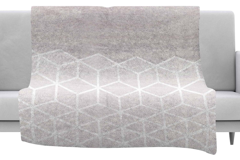 Kess InHouse Draper Geo Woodgrain Gray White Throw 40 x 30 Fleece Blanket