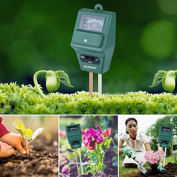 Kit de Prueba de Suelo de jardín 3 en 1, medidor de Humedad de Planta de kuman para casa, jardín, césped, Granja, Interior y Exterior, sin Necesidad de batería, KP03: Amazon.es: Jardín