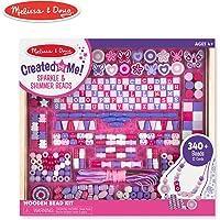 Melissa & Doug creado por mí! Sparkle & Shimmer Beads Kit de abalorios de madera, 340 + perlas para la fabricación de joyas.