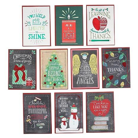Christmas Cards For Teachers.Hallmark Christmas Cards Assortment For Teachers Or Babysitters From Children 10 Cards With Envelopes