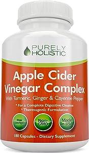 Apple Cider Vinegar Capsules, - 180 Vegan ACV Capsules, High Strength Apple Cider Vinegar Pills, Purely Holistic
