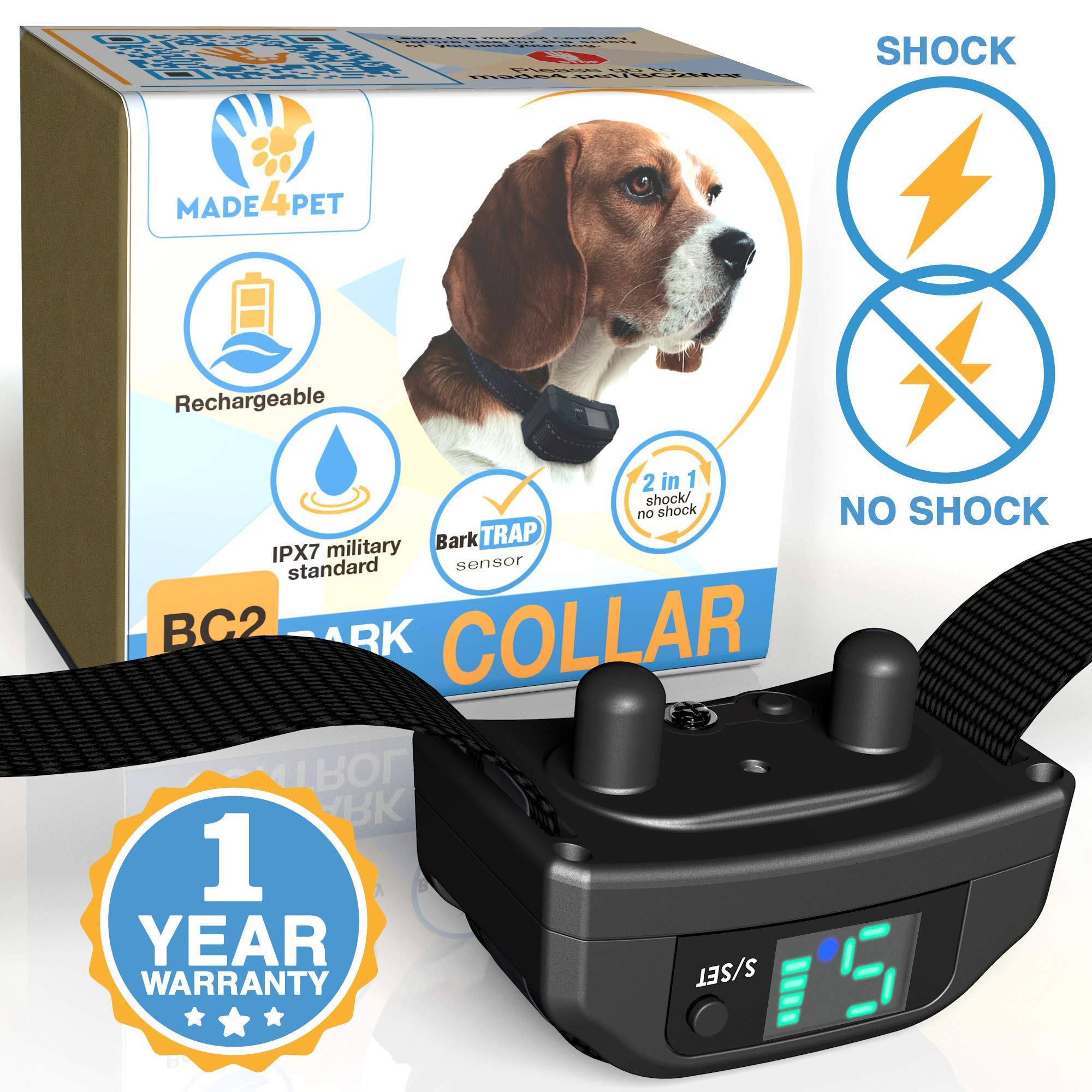Made4Pet Bark Collar Small Large Dog - Vibration or Shock Barking Collar - Rechargeable and Waterproof Anti Barking Device - No Bark Control Collar
