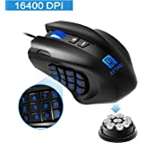 Gaming Mouse, Rytaki R6 High-Precision 16400 DPI Laser MMO Wired Gaming Mice with 19 Programmable Buttons, 12 Side Buttons,6 Adjustable DPI Levels, Weight Tuning Cartridge for PC, Gamer-Black