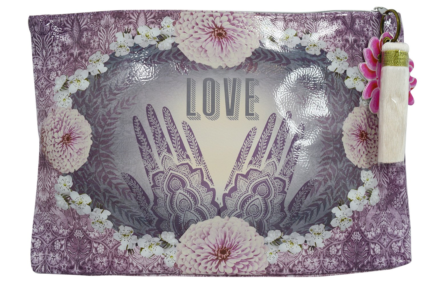 Love Henna Designs Oil Cloth Large Make-up or Accessory Travel Bag by Papaya (Image #1)