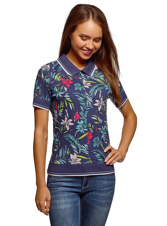 oodji Ultra Womens Printed Polo Shirt with Zipper Closure RIFICZECH s.r.o. 19301012-1