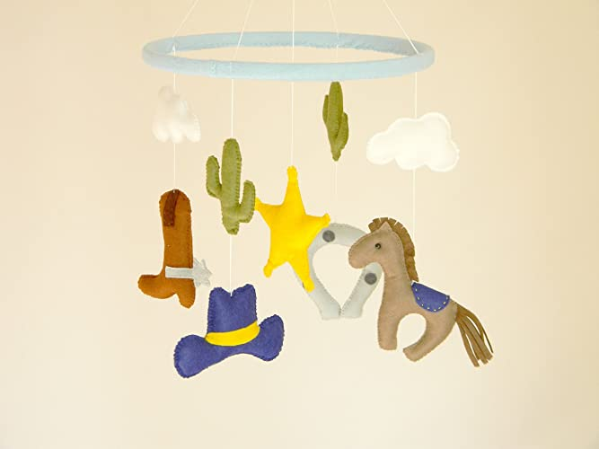 b627264b4449a Amazon.com: Cowboy Baby Mobile, Baby Crib Mobile, Nursery Cowboy,Cot ...