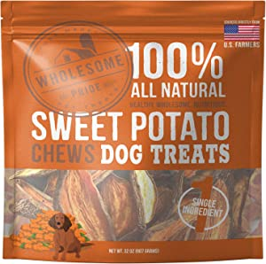 Wholesome Pride Sweet Potato Chews - All Natural Healthy Dog Treats - Vegan, Gluten and Grain-Free Dog Snacks