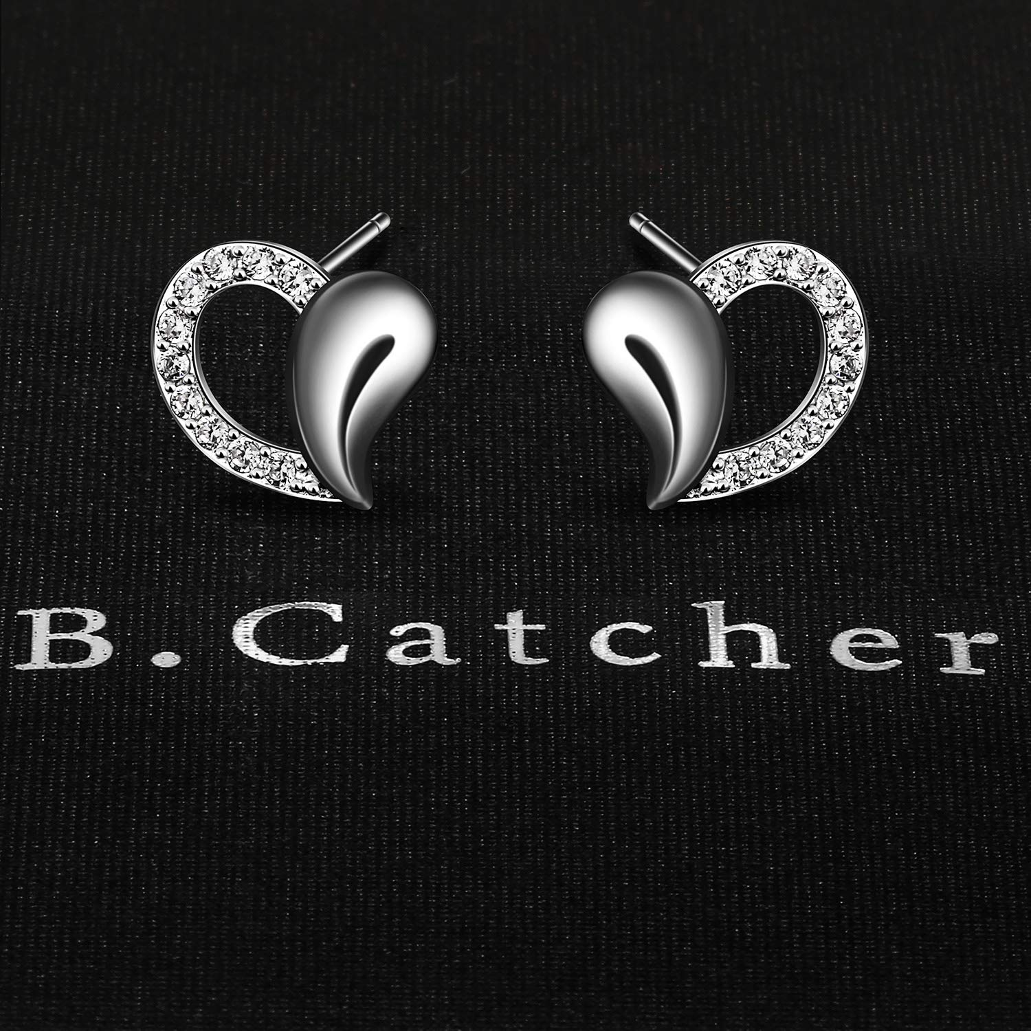B.Catcher Heart Earrings Women Studs 925 Sterling Silver Jewelry Gift for her Birthday Gift Hypoallergenic material with Gift box