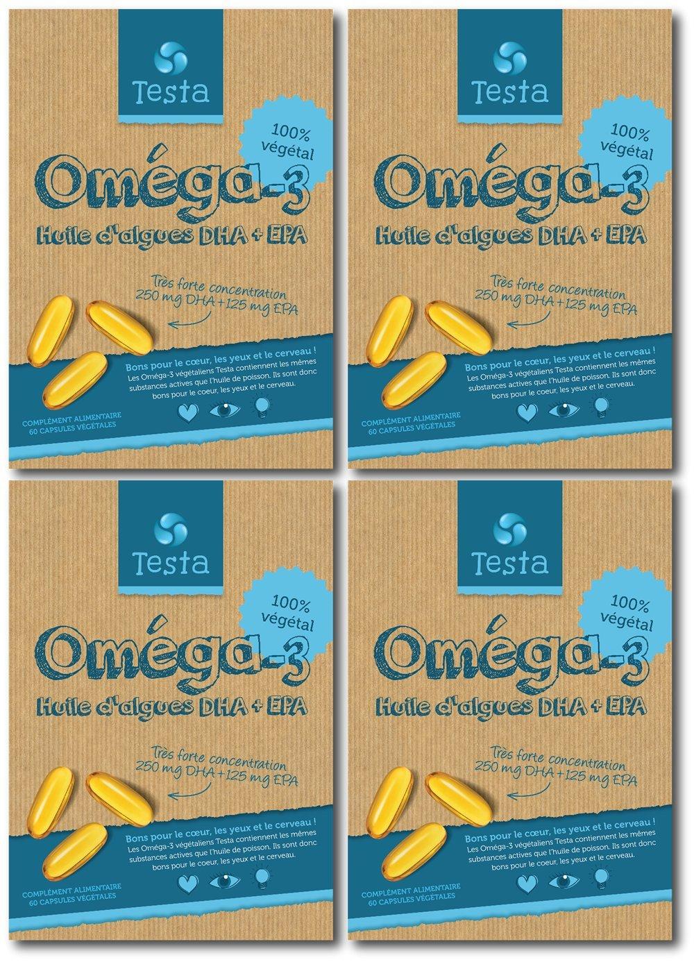 e51901c9d5de Testa Omega-3 450mg DHA+EPA - Huile d algues - Omega-3 vegan - 240 capsules  - 8 mois d utilisation  Amazon.fr  Hygiène et Soins du corps