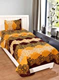 Homefab India 140 TC Polycotton Single BedSheet with 1 Pillow Cover - Brown