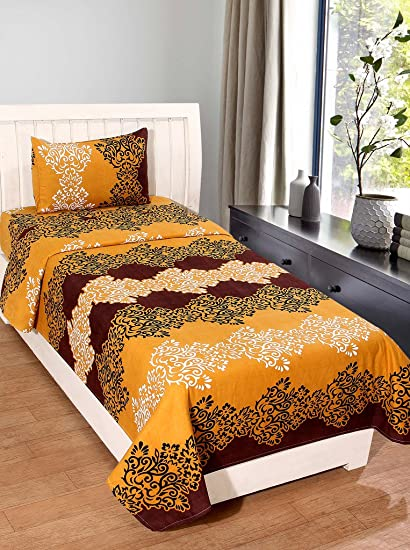 Homefab India 140 TC Polycotton Single Bedsheet with Pillow Cover - Modern, Beige and Brown