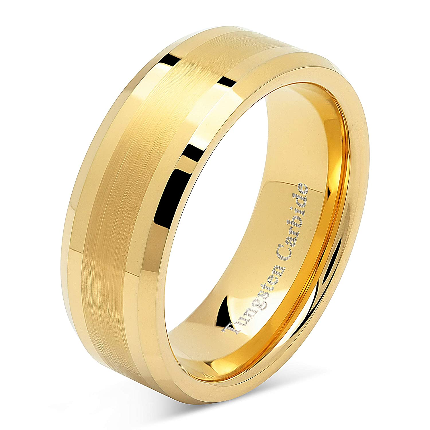 Engagement Wedding Jewelry 8mm Mens Tungsten Ring Wood Inlay 14k