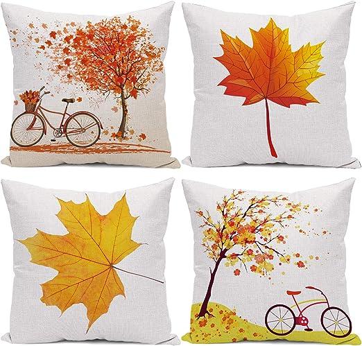 """4PCS 18x18/"""" Home Decor Autumn Maple Leaves Fall Cushion Case Throw Pillow Cover"""
