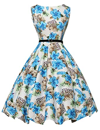 00c6b7acf726ba GRACE KARIN Boatneck Sleeveless Vintage Tea Dress with Belt  Amazon.co.uk   Clothing