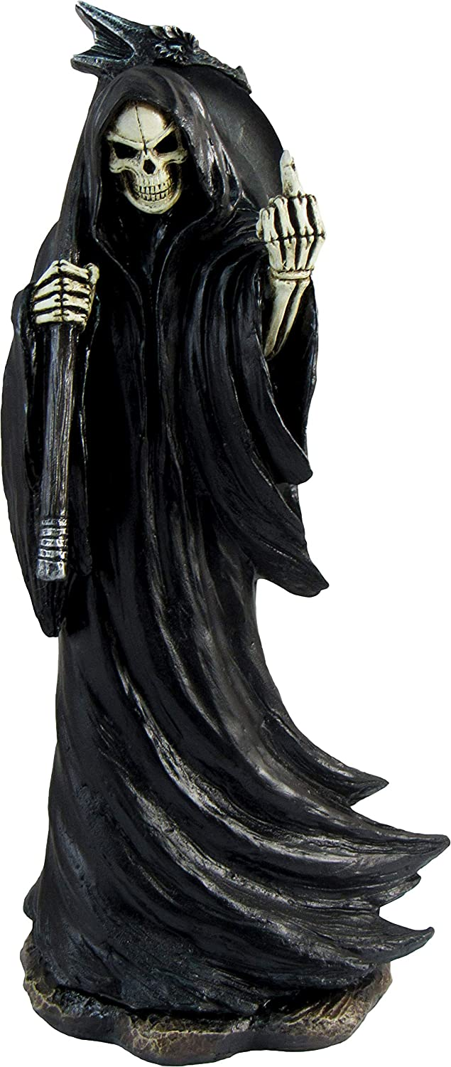 DWK - Grim Grouch - Reaper Harbinger of Death with Middle Finger Flipping The Bird Statue Satire Figurine Halloween Party Novelty Gothic Home Decor Accent, 8-inch
