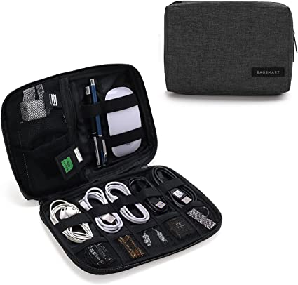 Black Charger Cable BAGSMART Electronics Travel Organizer Bag Hard Drive Case for Various USB Phone