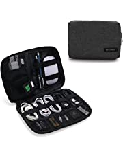 BAGSMART Portable Travel USB Cable Organizer Bag Cases for Small Electronics and Accessories, Black