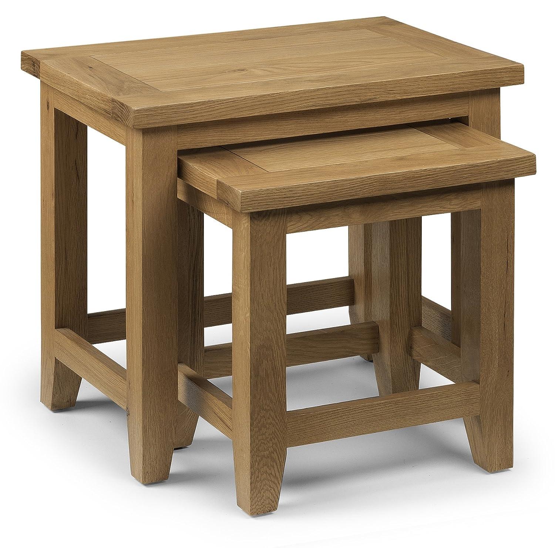 Julian Bowen Light Astoria Nest of Tables, Waxed Oak AST005