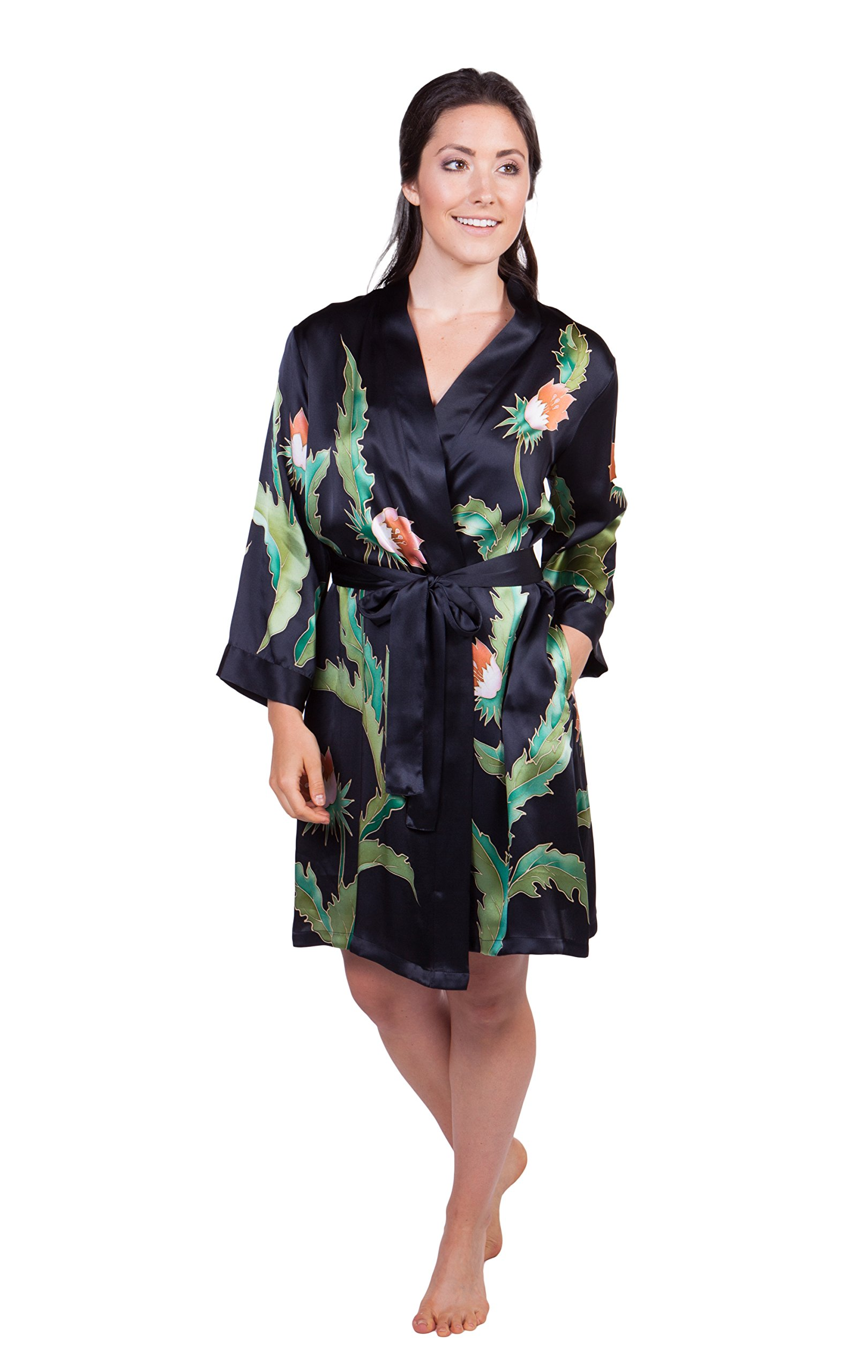 Women's Silk Nightgown Robe Set - Luxury PJs by TexereSilk (Desert Flower, Black, Small) Top Christmas Gift for Wife Girlfriend WS0603-BLK-S