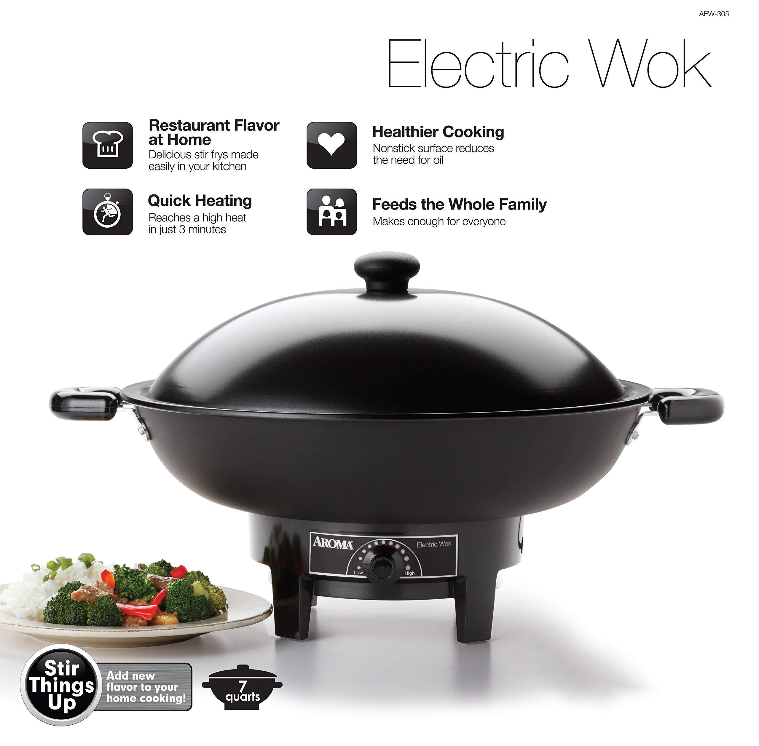 Aroma Housewares  AEW-305 Electric Wok, Black (Renewed)