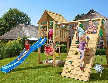 Jungle Gym Cabin Climb Azul Parques Infantiles de Madera para Jardin con Tobogan y Muro de Escalada: Amazon.es: Juguetes y juegos