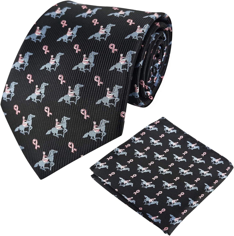 KOOELLE - Corbata de caballo para hombre, diseño ecuestre y bolsillo cuadrado
