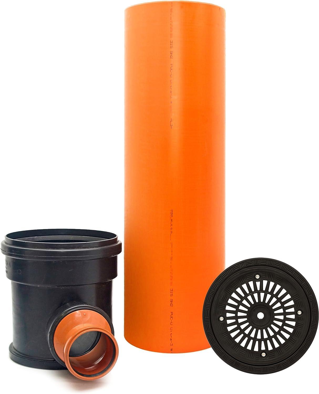 Rohr Deckel rund Regen KG Kontrollschacht Revisionsschacht Abwasserschacht Schacht DN315 // 2 x DN110 Komplett SET