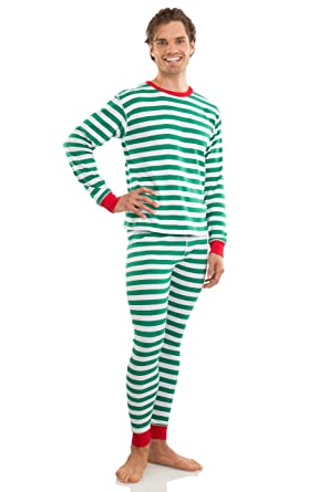 e36af5659a Elowel Adult Womens Mens Family Christmas Fitted Striped Pajamas 100 ...