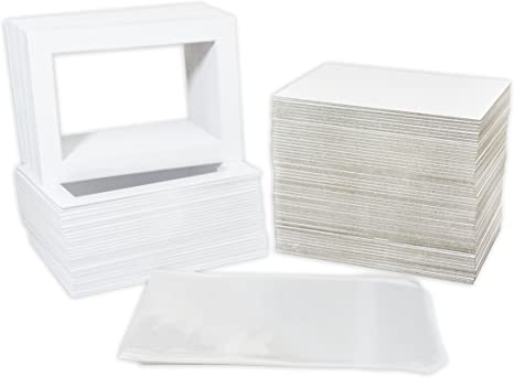 Pack of 5 8x10 White Picture Mats with White Core for 4x6 Pictures