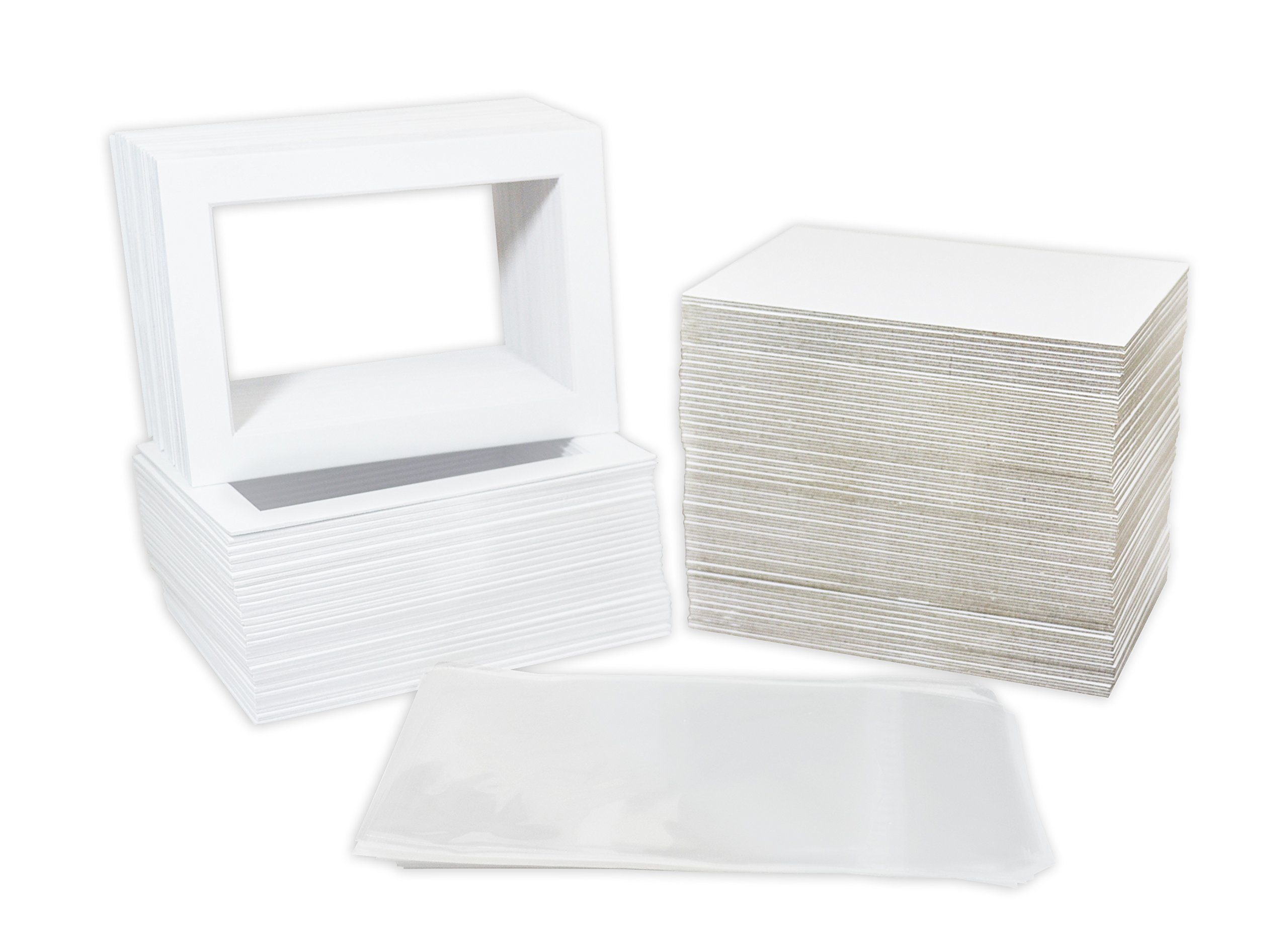 Pack of 100 5x7 WHITE Picture Mats Mattes with White Core Bevel Cut for 4x6 Photo + Back + Bags by Golden State Art