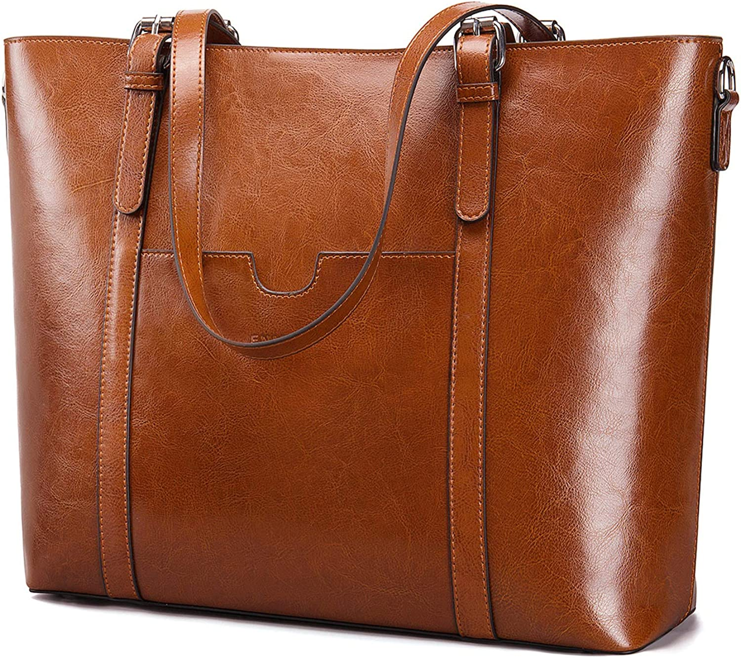 Women Leather Briefcase Bag Laptop Tote Handbags 15.6 Inch Large Capacity Office Shoulder Bags Work Purse