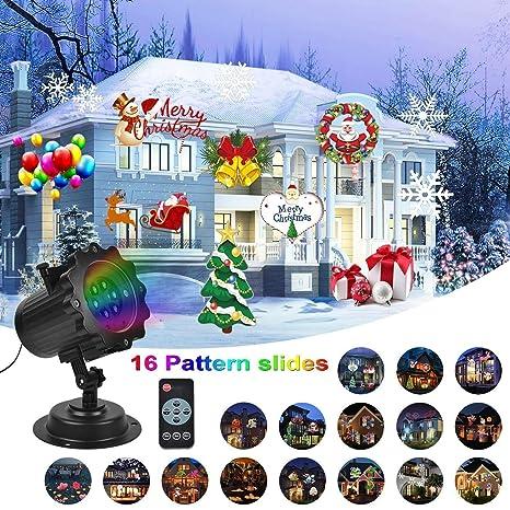 Luces de Proyector Navidad, UNIFUN 16 Diapositivas Lámpara de Proyector con Control Remoto Decoracion Navideña Exterior para ...